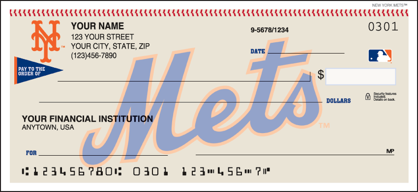 New York Mets Sports Personal Checks - 1 Box - Duplicates