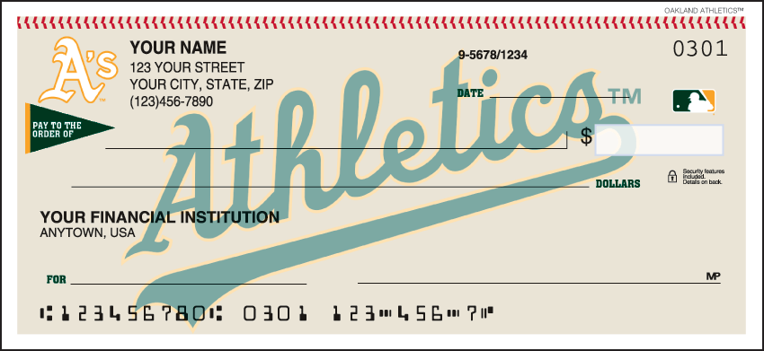 Oakland Athletics Sports Personal Checks - 1 Box - Duplicates