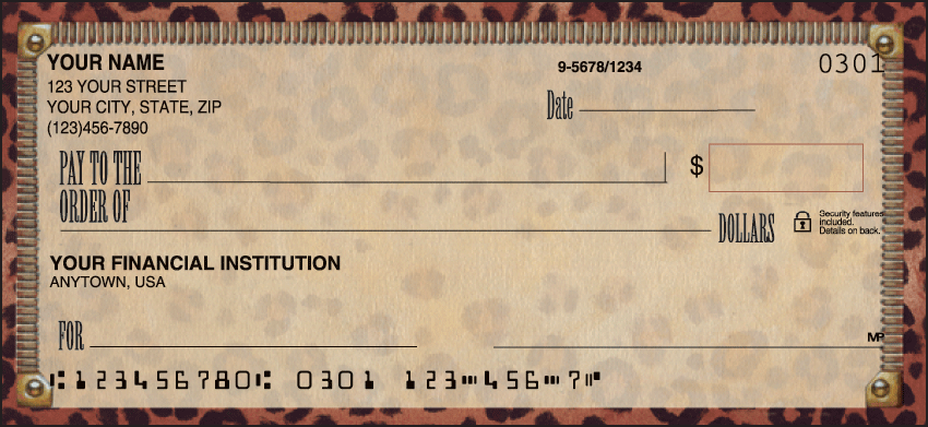 Out of Africa Animal Personal Checks - 1 Box - Duplicates