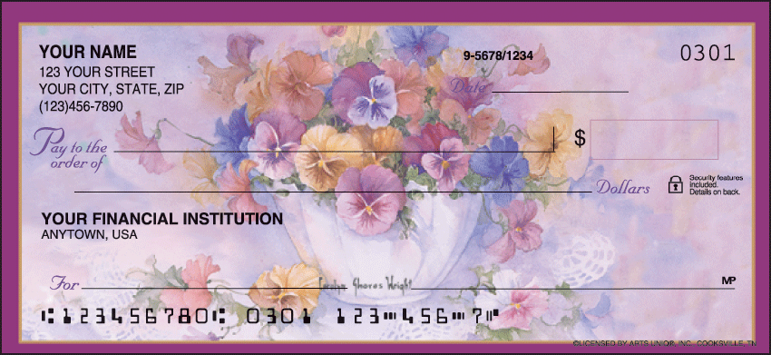 Pansies Garden Personal Checks - 1 Box - Duplicates