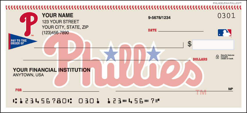 Philadelphia Phillies Sports Personal Checks - 1 Box - Duplicates