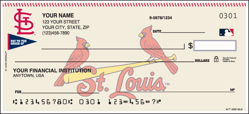 St. Louis Cardinals Sports Personal Checks - 1 Box - Duplicates