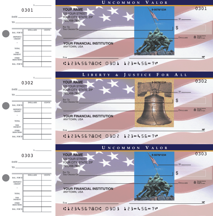 Stars & Stripes Patriotic Checks - 1 Box - Duplicates