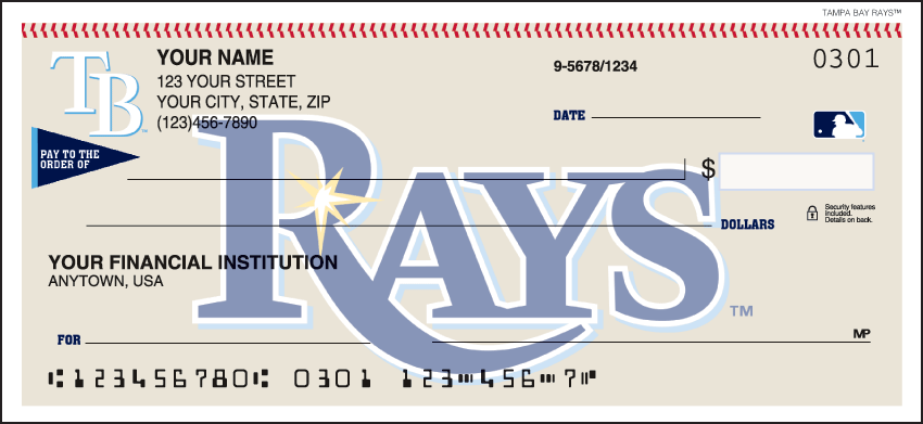 Tampa Bay Rays Sports Personal Checks - 1 Box - Singles
