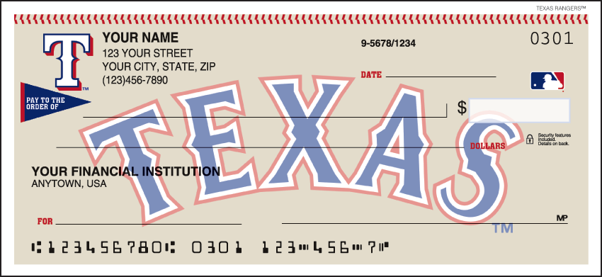 Texas Rangers Sports Personal Checks - 1 Box - Singles