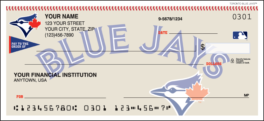 Toronto Blue Jays Sports Personal Checks - 1 Box - Singles