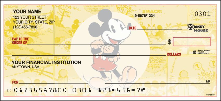 Vintage Mickey Disney Personal Checks - 1 Box - Singles