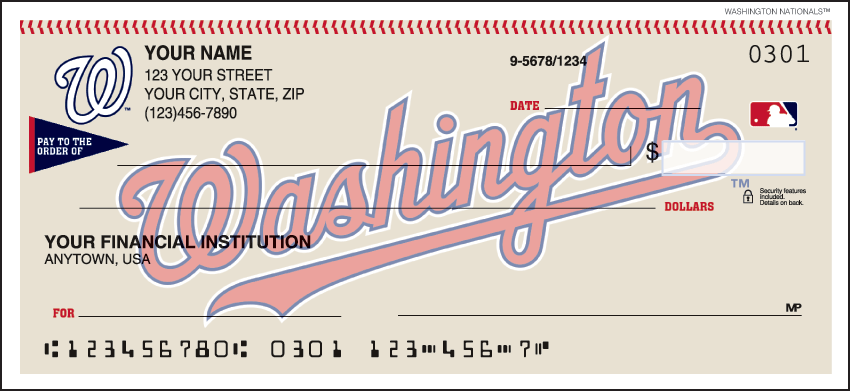 Washington Nationals Sports Personal Checks - 1 Box - Duplicates