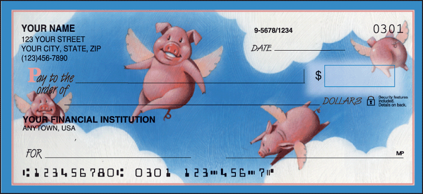 When Pigs Fly Animal Personal Checks - 1 Box - Duplicates