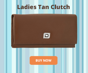 RFID Tan Leather Clutch Wallet