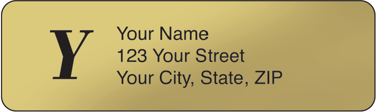 Gold Monogram Address Labels - click to view larger image