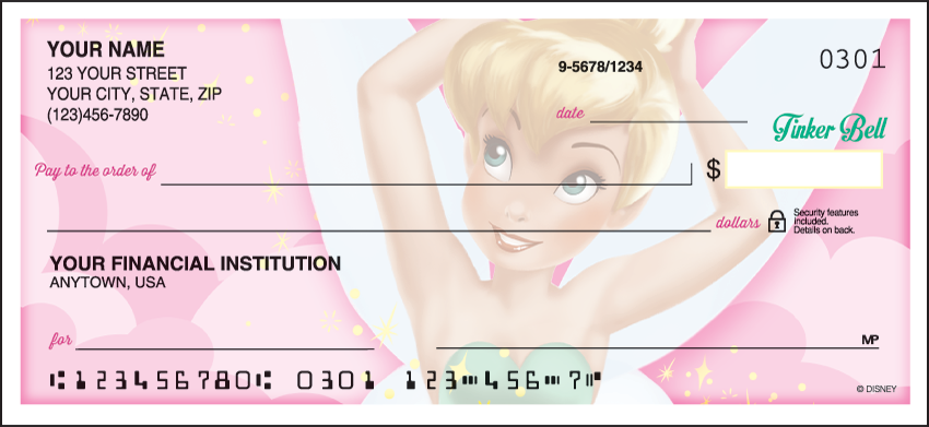 Side Tear Tinker Bell Personal Checks