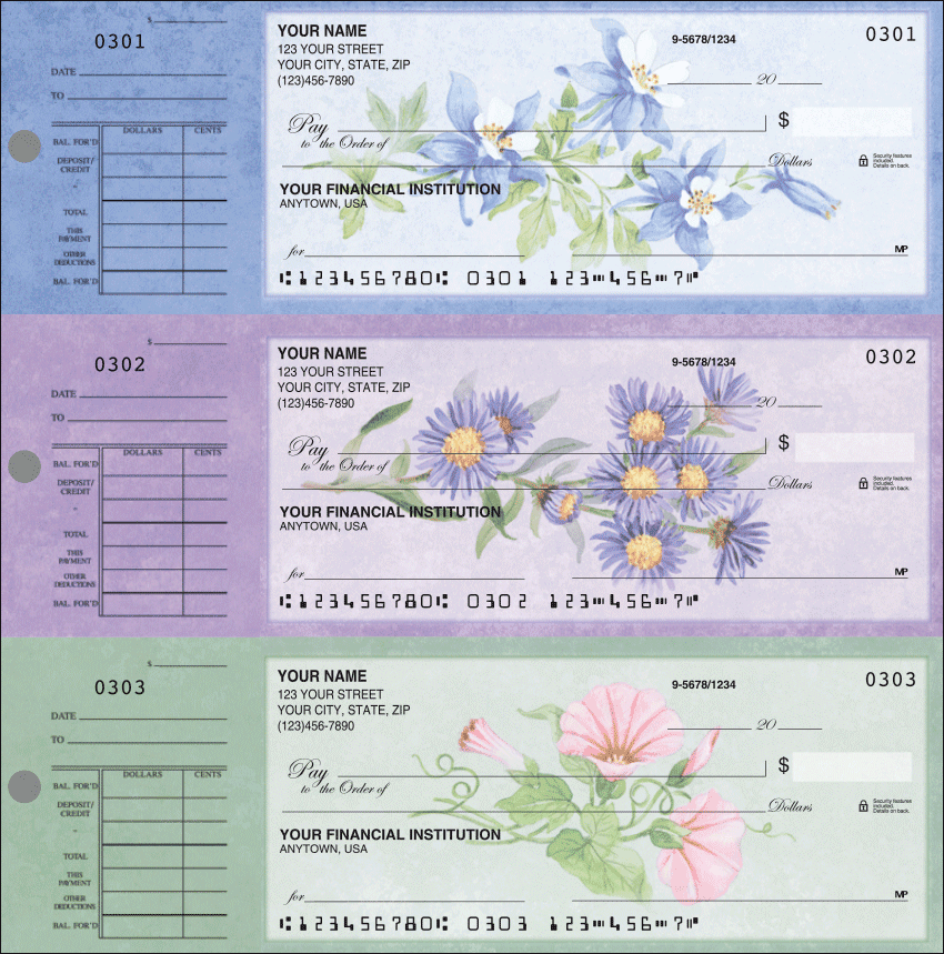 American Wildflowers Desk Set Checks - 1 Box - Duplicates