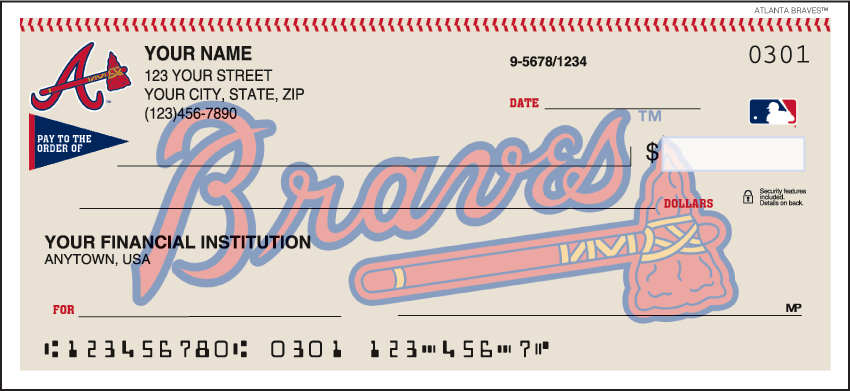 Atlanta Braves Recreation Personal Checks - 1 Box - Duplicates
