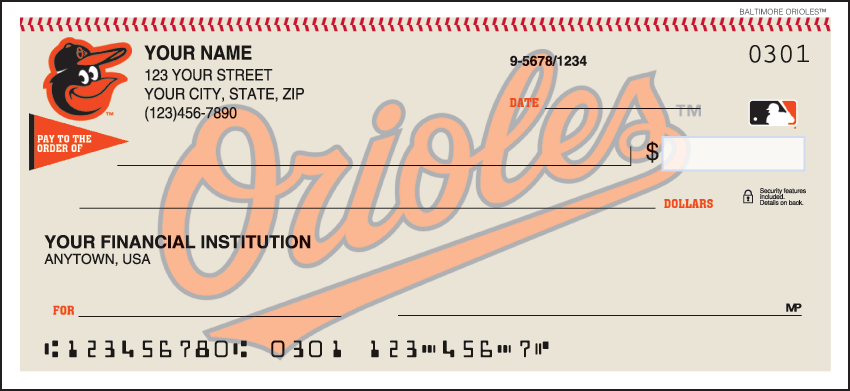 Baltimore Orioles Recreation Personal Checks - 1 Box - Singles