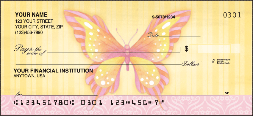 Butterflies Animal Personal Checks - 1 Box - Singles