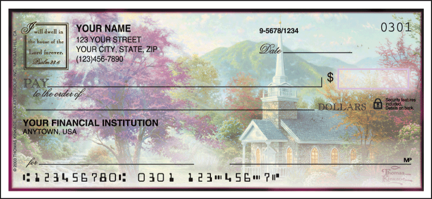 Churches by Thomas Kinkade Side Tear Personal Checks - 1 Box - Singles
