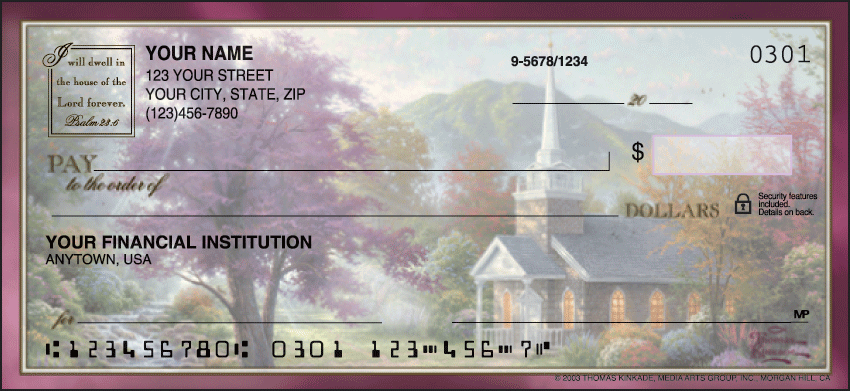 Churches by Thomas Kinkade Scenic Personal Checks - 1 Box - Duplicates