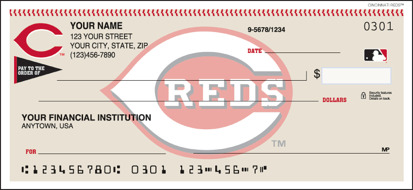 Cincinnati Reds Recreation Personal Checks - 1 Box - Duplicates