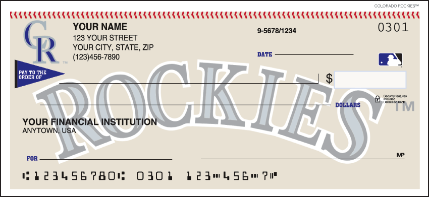 Colorado Rockies Recreation Personal Checks - 1 Box - Duplicates