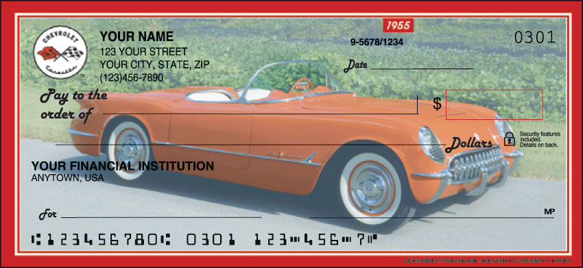 Corvette Recreation Personal Checks - 1 Box - Singles