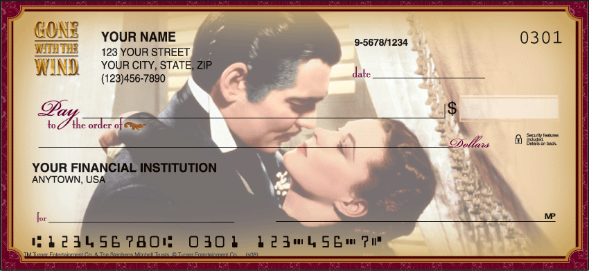 Gone with the Wind Warner Bros Personal Checks - 1 Box - Singles
