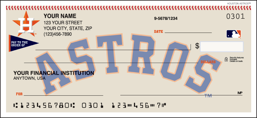 Houston Astros Recreation Personal Checks - 1 Box - Duplicates