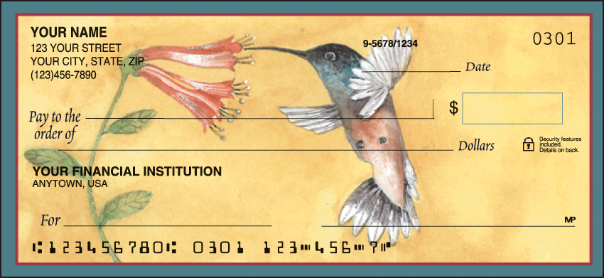 Hummingbirds Animal Personal Checks - 1 Box - Duplicates