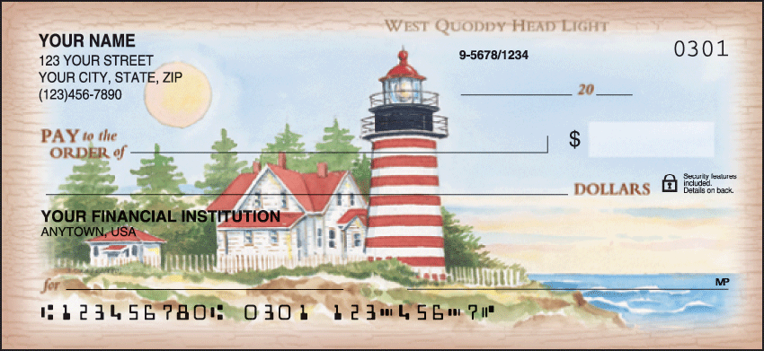 Lighthouses Scenic Personal Checks - 1 Box - Duplicates