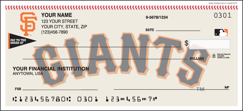 San Francisco Giants Recreation Personal Checks - 1 Box - Duplicates