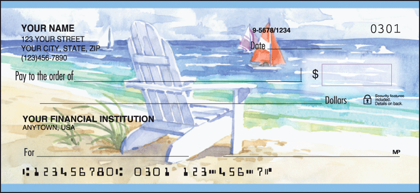 Seaside Side Tear Personal Checks - 1 Box - Singles