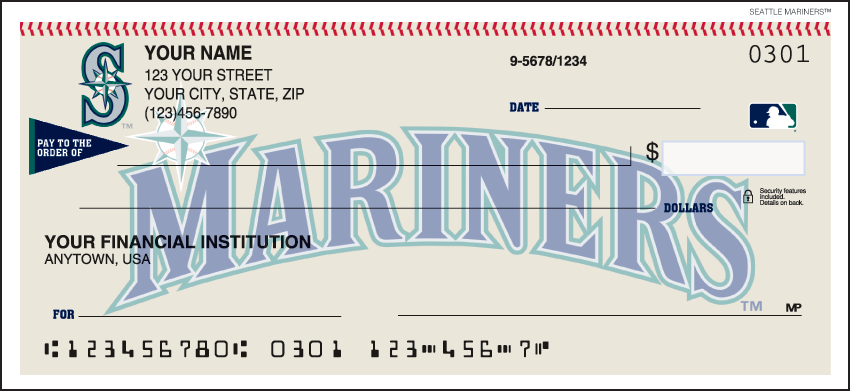 Seattle Mariners Recreation Personal Checks - 1 Box - Duplicates