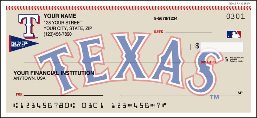 Texas Rangers Recreation Personal Checks - 1 Box - Duplicates