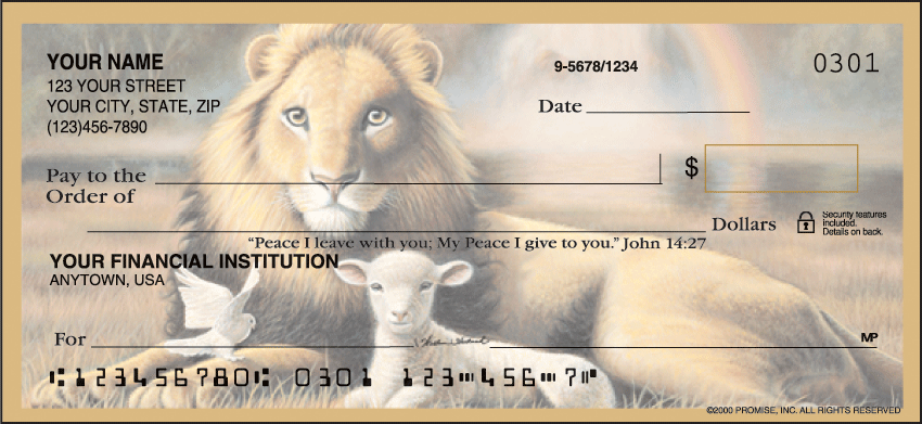 The Promise of Peace Inspiration Personal Checks - 1 Box - Duplicates